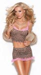 2 Piece Cami Top and Skirt Set - Leopard -