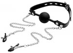 Silicone Ball Gag W/Nipple Clamps