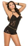Romper with Lace Inserts - Black - Medium