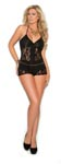 Romper with Lace Inserts - Black - Queen Size 2x