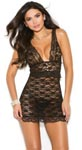 Lace Babydoll with Pearl Buttons - Black - Large