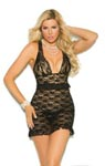 Lace Babydoll with Pearl Buttons - Black - Queen Size 2x