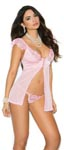 Mesh & Satin Babydoll - Pink - Medium