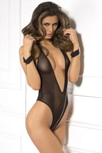2 Pc Mesh Teddy & Cuff Set - Black One Size