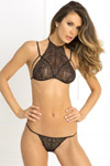 2 Pc Most Wanted Lace Bra and G-String Set - Black - Small/ Medium