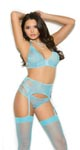 Bralette, Garter Belt & Panty - Blue - Small