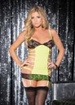 Ultra Sexy Micro Knit & Stretch Lace Gartered Chemise - One Size - Neon Green