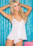 Sequin Embroidery & Sheet Net Babydoll - One Size - White