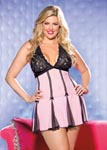 Stretch Lace & Net Babydoll - 3x4x - Pink/ Black