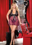 Large Polka Dot Net Babydoll - 1x2x -Hot Pink/ Black