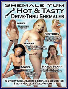Shemale Yum Hot and Tasty Drive-Thru Shemales Porn DVD