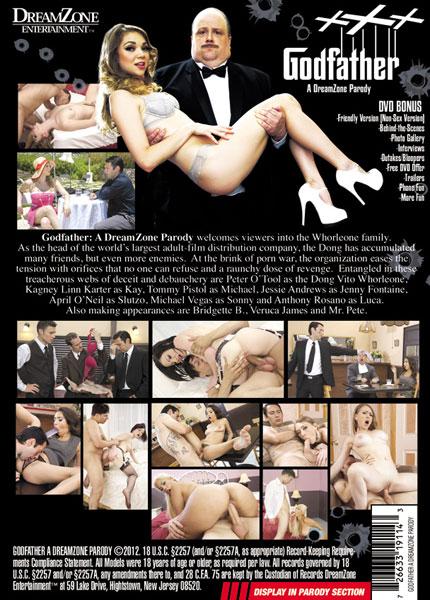Godfather XXX, A DreamZone Parody, Porn DVD, Dream Zone Ent., Lee Roy Myers, April O'Neil, Bridgette B., Jessie Andrews, Kagney Linn Karter, Anthony Rosano, Mr. Pete, Peter O'Tool, Tommy Pistol, Veruca James, Feature, Parody