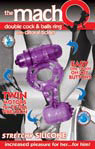 Macho Double Cock & Balls Ring With Clitoral Tickler - Purple
