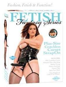 Fetish Fantasy Plus-Size Crotchless Corset Strap On - Black