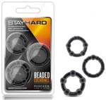 Stay Hard Beaded Cockrings 3 pc Set - Black