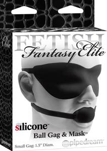 Fetish Fantasy Elite Silicone Ball Gag & Mask Small - Black