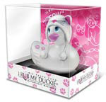I Rub My Duckie Hoodie Kitty Massager Travel Size - White