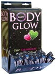Body Glow Kiwi Strawberry Massage Cream 10ml Pillow Packs - Display Of 50