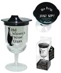 Old Winey's Wine Glass W/Sippie Lid