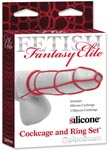 Fetish Fantasy Elite Cockcage and Ring Set - Red
