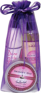 Earthly Body Summer Skin Care Bag - 8 Oz Skinny Glow Oil Dare To Be Bare & 6.8 Candle