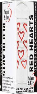 Adam & Eve Red Hearts Glass Dildo