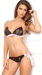 2 Pc Boudoir Bra and Panty Set - Black -