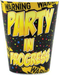 Warning Party In Progress Plastic Shot Glass