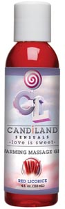 Candiland Sensuals Warming Massage Gel - Red Licorice - 4 Oz