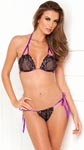 2 Pc Lace Tie-Up Bra and Thong Set - Black -