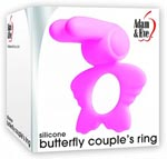 Adam and Eve Silicone Butterfly Couple's Ring - Pink