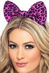 Leopard Bow On Headband - Pink and Black