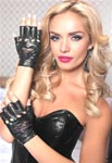 Lame Biker Gloves With Lace Heart Cut Out - Black