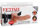 Fetish Fantasy Series - 7 Inch Vibrating Hollow Strap-on With Balls - Flesh