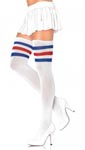 3 Stripes Athletic Ribbed Thigh Highs - One