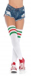 3 Stripes Athletic Ribbed Thigh Highs - Green/ Red - One Size