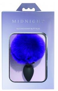 Midnight Silicone Bunny Butt Plug - Purple