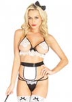 4 Pc Naughty French Maid - One Size - Black/ White