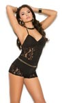 Romper with Lace Inserts - Black - Large