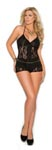 Romper with Lace Inserts - Black - Queen Size 1x