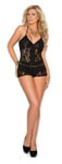 Romper with Lace Inserts - Black - Queen Size 3x