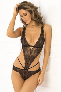 No Mercy Lace Cage Teddy - Black - Medium/ Large