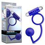 Performance Penetrator Anal Ball With Vibrating Cock Ring - Indigo