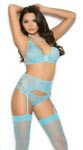 Bralette, Garter Belt & Panty - Blue - Medium