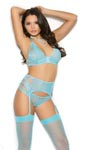 Bralette, Garter Belt & Panty - Blue - Large