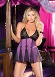 Stretch Lace & Net Babydoll - One Size - Purple/ Black