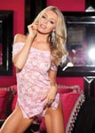 Stretch Lace Chemise & Panty Set - One Size - Pink