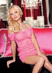 Stretch Lace Chemise & Panty Set - One Size - Hot Pink