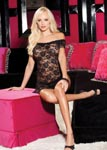 Stretch Lace Chemise & Panty Set - One Size - Black