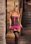 3 Pc. Big Hole Fishnet & Tulle Bustier, G-String, & Stockings Set - One Size - Black/ Hot Pink
